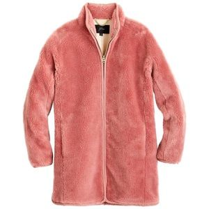 NWT JCrew Glass Petal Pink Zip Up Teddy Coat XL